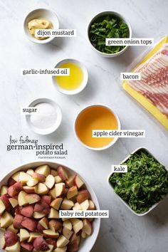 Low FODMAP German Potato Salad is a warm side dish made with potatoes, bacon, and a sour-sweet dressing. My version uses a little less added sugar than classic recipes with an added veggie-boost of colorful kale. Fodmap Recipes, Dairy Free Recipes, Veggie Recipes, Diet Recipes, Healthy Recipes, Potato Recipes, Healthy Meals, Vegetarian Recipes, Healthy Food