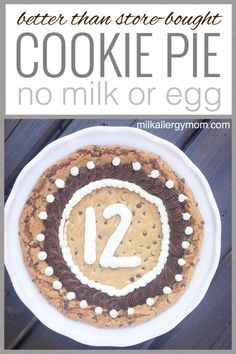 Chocolate Chip Cookie Pie or Cake Dairy Free Cookies, Dairy Free Snacks, Dairy Free Eggs, Egg Free Recipes, Allergy Free Recipes, Kid Recipes, Dessert Recipes, Common Food Allergies, Kitchens