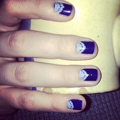 My newest Jamicure! I used the #touchoflacejn #Jamberry nail wrap over a navy polish I've had in my nail box for years! I love the clear Jamberry nail wraps because you can put them over clean natural nails, acrylic or gel nails, or over whatever shade of polish you want! #possibilities #nails #nailart  Get your own at Maggierockett.jamberrynails.net