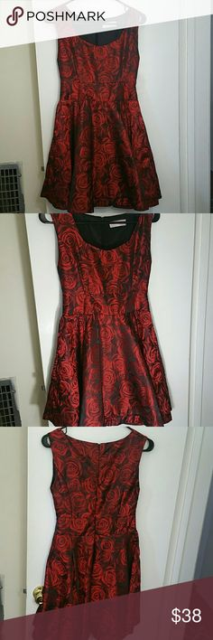 Red formal dress Red and black dress with rose pattern. Size small. Dresses