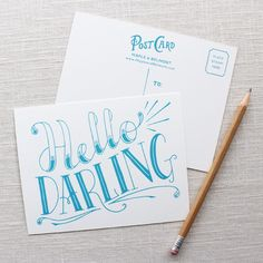 Hello Darling Postcard Set | BRIKA - A Well-Crafted Life