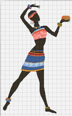 Buy 1 and Get 1 Free Coupon BOGO18! African Dance Art Cross Stitch Pattern Counted Cross Stitch Char