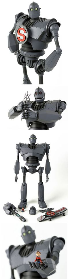 "The Iron Giant Deluxe Figure by Mondo- when I decided to work on a robot story, The Iron Giant was the first thing I thought of. I'm sure I'm not the only one who still get's choked up hearing the phrase ""Supermaaan"" Choses Cool, The Iron Giant, Robot Design, Vinyl Toys, Designer Toys, Steampunk, Sculpture, Cool Toys, Les Oeuvres"