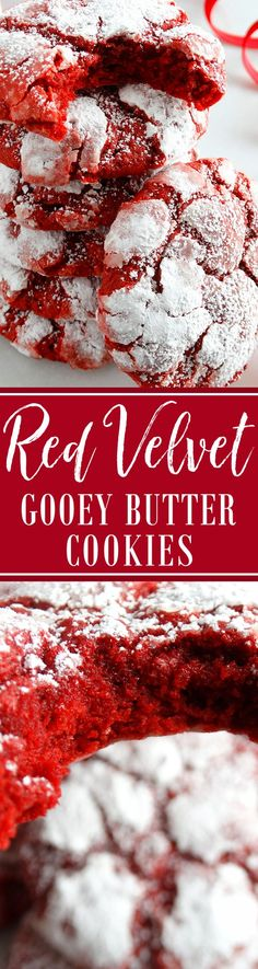 Melt-in-your-mouth Red Velvet Gooey Butter Cookies at their finest and from scratch. Buttery, light and tender-crumbed, sweetened just right, pretty in red velvet color and full of red velvet flavor. Tea Cakes, Cupcake Cakes, Cupcakes, Christmas Desserts, Christmas Treats, Holiday Treats, Yummy Treats, Delicious Desserts, Sweet Treats