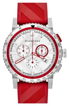 Burberry Check Stamped Chronograph Rubber Strap Watch, 42mm available at #Nordstrom