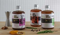 Easy-Mixers coctail premix packaging by TSMGO Cas, Show Must Go On, And Just Like That, Cocktail Making, Mixers, Packaging Design Inspiration, Drink Bottles, Whiskey Bottle, Branding Design