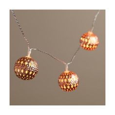 Cost Plus World Market Copper Orb LED 10-Bulb Battery Operated String... ($20) ❤ liked on Polyvore featuring home, outdoors, outdoor lighting, metallic, battery operated fairy lights, battery powered fairy lights, copper outdoor lighting, battery party lights and battery powered string lights