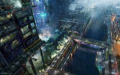 Amazing Concept Art of a Blade Runner-ified Paris [( Science-fiction, dystopia, future noir, Blade Runner, cyberpunk, night skylines, dark city, Metropolis )]