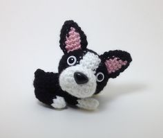 Boston Terrier Plush Puppy Stuffed Animal Handmade Crochet Dog Amigurumi Dog / Made to Order by Inugurumi on Etsy https://www.etsy.com/listing/77911582/boston-terrier-plush-puppy-stuffed
