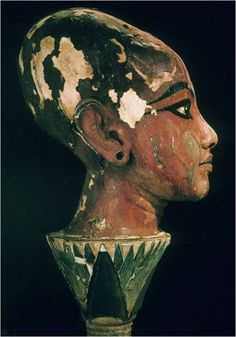 Head of Tut - from his tomb in the Valley of the Kings.  This depicts Tut as a boy. I saw this in San Francisco at the first showing of the boy king's funerary items.