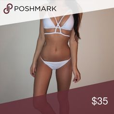 White Caged Bikini Cute and strappy caged bikini. Petite sizes. Comes brand new with tags from my shop. Swim Bikinis