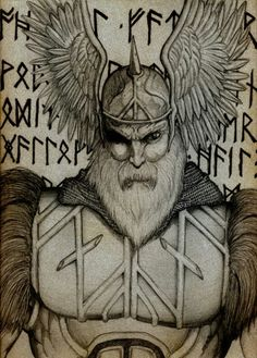 Drawing with god with wings, Allfather, Odin?