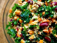 Winter Steel Cut Oat Kale Salad with sweet potatoes and beans. Steel cut oats are the surprising star of the show here in a savory salad dish - not just for your morning oats!