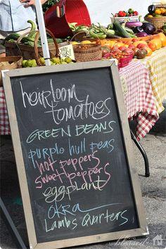 Market Display - Chalkboard menu for farmer's market Farmers Market Display, Market Displays, Market Table, Vegetable Stand, Produce Stand, Market Stands, Farm Store, Market Garden, Fresh Market