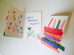 Birthday cards made by toddlers. Rainbow cake w/construction paper, glue, & a bit of glitter. Fingerprint stamp balloons. Ideas inspired from pins. (Yes, the call their grandpa fluffy - long story.)