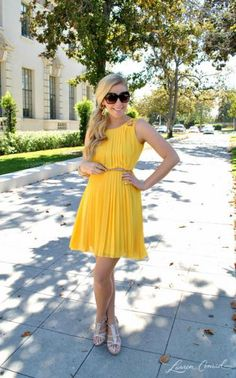 "pretty pleated yellow dress ❁❁❁Thanks, Pinterest Pinners, for stopping by, viewing, pinning, & following my boards. Have a beautiful day! And ""Feel free to share on Pinterest""✮✮"" #fashion  www.fashionupdates.net"