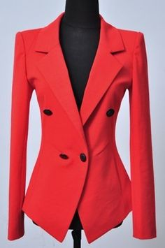 Red Notch Lapel Long Sleeve Pockets Suit