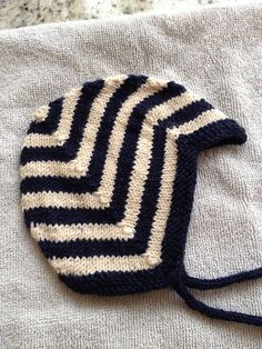 Free Vintage Striped Baby Bonnet Knit Pattern
