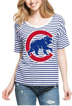 '47 Women's Chicago Cubs Coed Stripe T-Shirt