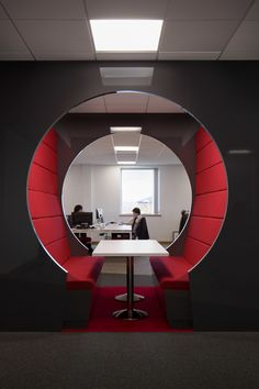 The Visualsoft Booth is an open plan space for breakout meetings or internal meetings.