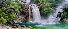 (North Korea) Waterfalls in Mt Myohyang by Kim A-ryeo.