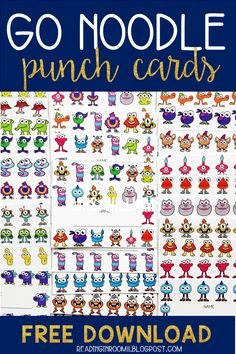 Check out these champ-tastic GoNoodle punch cards!  This set includes all of the GoNoodle champs in 30 different designs. This gives you a total of 240 individual punch cards! Punch cards can be a great addition to your behavior management system.  You can use them to encourage good behavior, task completion, participation and more!