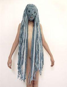Denim Mask Model shot Final- lyn balzer and tony perkins Headdress, Headpiece, Halloween Karneval, Mode Costume, Leather Mask, Textiles, Body Adornment, Masks Art, Headgear
