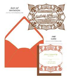 Ritzy Wedding Invitations & RSVP Card  by honey-paper.com #wedding #savethedate #aviedesigns #papercuts