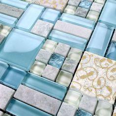 Backsplash Tiles Kitchen Blue Glass & Stone Blend Mosaic Natural Marble Bathroom Shower Wall Tiles Stone and Glass Blend Mosaic Tile Metal Tile Backsplash, Stone Mosaic Tile, Mosaic Glass, Wall Tiles, Kitchen Backsplash, Marble Mosaic, Mosaic Wall, Tile Art, Blue Glass Tile