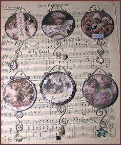 Big round two sided Christmas pendants front side by Boxwoodcottage, via Flickr