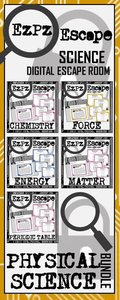 UNDLE & SAVE 20% Students will have a blast with this Physical Science Digital Escape Room Bundle! This bundle contains escape rooms for Matter, Chemistry, Periodic Table of Elements, Force and Motion and Energy. Students will use their knowledge of physical science to make an EzPz Escape! Students are required to answer station cards and use a decoder to get the code that will break them out of the digital room. There are 5 stations with 4 questions per station.