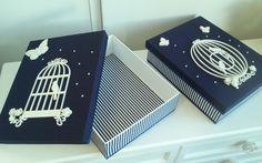 Caixa em mdf pintada de branco e encapada com tecido, além de decorar, serve para guardar os lacinhos e outros acessórios da bebê com muito charme. O valor é unitário.  Pode ser feita em qualquer tema e tecido.  Entre em contato para mais opções  ATENÇÃO: verifique o modelo de gaiola disponível. ... Decoupage Vintage, Decoupage Box, Sewing Room Organization, Arts And Crafts, Diy Crafts, Tea Box, Tissue Boxes, Diy Projects To Try, Homemade Gifts