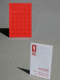 Unique and creative red letterpress business cards. The red & white duplex is a striking combination as seen here in these business cards we printed for James Sheriff at Genius Division, a web design and creative firm. Printing red ink to complement the red paper and then printing red ink over the red side rather than a blind deboss really help lift the pattern.