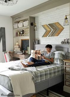 LOVE this! Rustic-Industrial Teen Boy Room Makeover