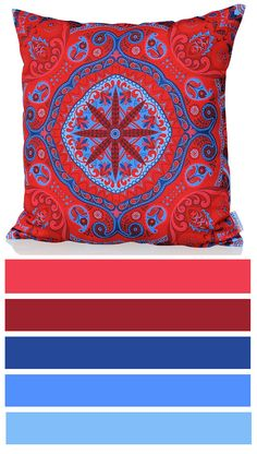 Profound cushion cover is full of color energy! Combination of bright reds, pinks and juicy blues is great for anyone who loves strong colors and eye-catching design elements in their interior.  http://www.sunburstoutdoorliving.com/collections/online/products/profound-cushion-cover-60cm