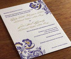 custom colorized floral artwork in gold foil.     Invitations by Ajalon   invitationsbyajalon.com