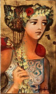 Tsekoura Kharis Gmunden Austria, Contemporary Decorative Art, Greek Paintings, Virtual Art, Greek Art, Naive Art, Arts, Female Art, Art Pictures
