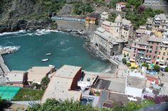Aerial shot of the town of Vernazza in La Spezia, Liguria, Italy or more commonly known as the Cinque Terre.
