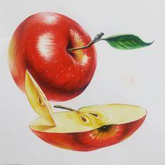 """좋아요 60개, 댓글 4개 - Instagram의 디자인고흐미술학원(@designgogh)님: """"디자인고흐 개체연구작 #디자인고흐 #선생님작품 #우왕ㅋ굳ㅋ #사과 #빨강 #미대입시 #미대입시생 #수채화 #고2 #고3 #고3스타그램 #기초디자인 #개체표현 #watercolor…"""" Coloured Pencils, Apple, Texture, Fruit, Drawings, Instagram Posts, Painting, Color, Apple Fruit"""