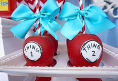 Check out these Thing 1 and Thing 2 Candy apples!! They are so cool! See more party ideas and share yours at CatchMyParty.com