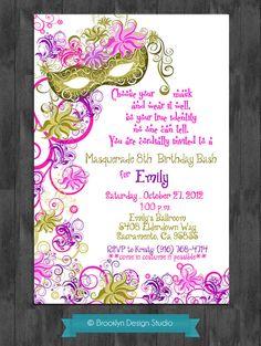 free printable masquerade or mardigras party invitation  party, invitation samples