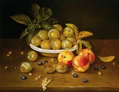 Jose Escofet  Bowl of Plums and Peaches, oil on canvas 46 x 56 cm, 1993