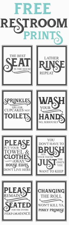 Splendid Free Vintage inspired bathroom printables-funny quotes to hang up in the restroom-farmhouse style-www.themoun… The post Free Vintage inspired bathroom printables-funny quotes to hang up in the restroo… appeared first on Dol Decor . 3d Templates, Vintage Inspiriert, Décor Boho, Do It Yourself Home, Farmhouse Decor, Farmhouse Style, Farmhouse Furniture, Country Furniture, Country Decor
