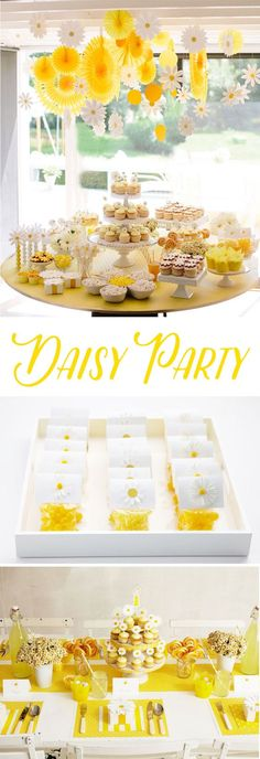 Summer is coming and it's the perfect time to throw a bright and colorful daisy party. These Daisy Party Ideas by Darcy Miller are the perfect inspiration. Grad Parties, 1st Birthday Parties, Holiday Parties, Birthday Ideas, Daisy Party, Baby Shower, Bridal Shower, Daisy Decorations, Party Themes