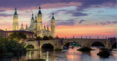 Zaragoza at sunset