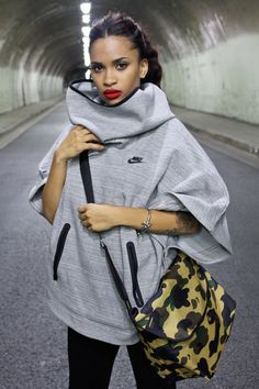 Nike poncho for fall. Cute and cozy! #Fitgirlcode