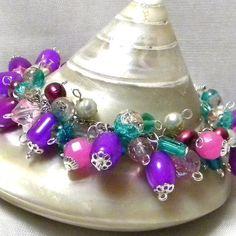 Marilyn1545 Marilyn Rush  #Jewelry #Bracelet #Cluster #Purple-Pink-Green #SilverFinding etsy.com/listing/725197… #HandmadeByMe #Unique #Original Stylish #$35