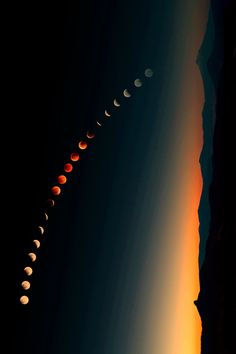 Amazing rotated lunar eclipse time lapse composite. Like a string of red-gold pearls in the evening sky.