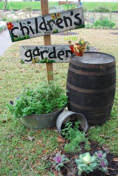 Helping Children to love the Garden * Give them a little garden space with easy to grow veggies, even have them help with a garden sign.