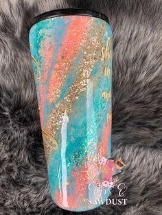 Diy Tumblers, Personalized Tumblers, Custom Tumblers, Glitter Tumblers, Glitter Cups, Blue Glitter, Glitter Glasses, Coral Blue, Blue Gold